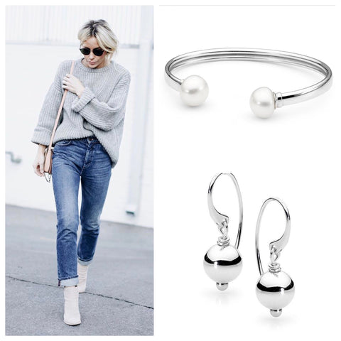 Leoni & Vonk pearl bangle and sterling silver ball earrings and street style photo of white boots