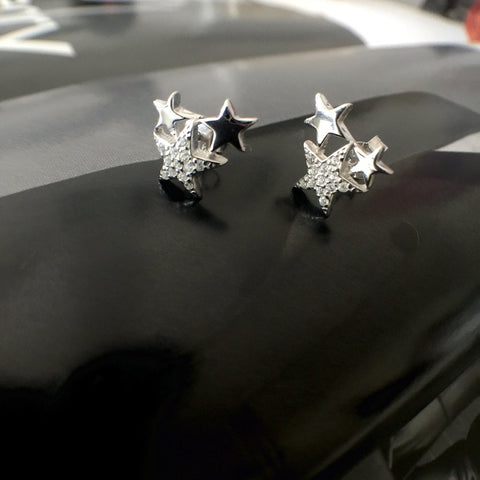 Leoni & Vonk sterling silver star trio stud earring