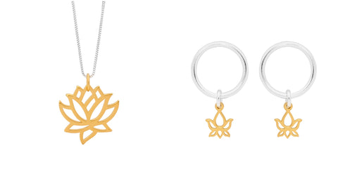 Leoni & Vonk sterling silver and gold lotus jewellery