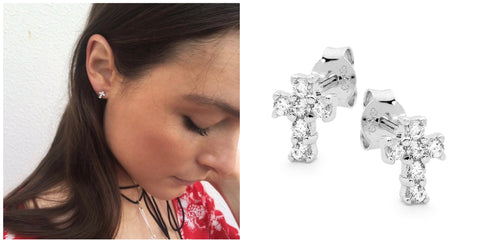 Leoni & Vonk cubic zirconia cross stud earrings