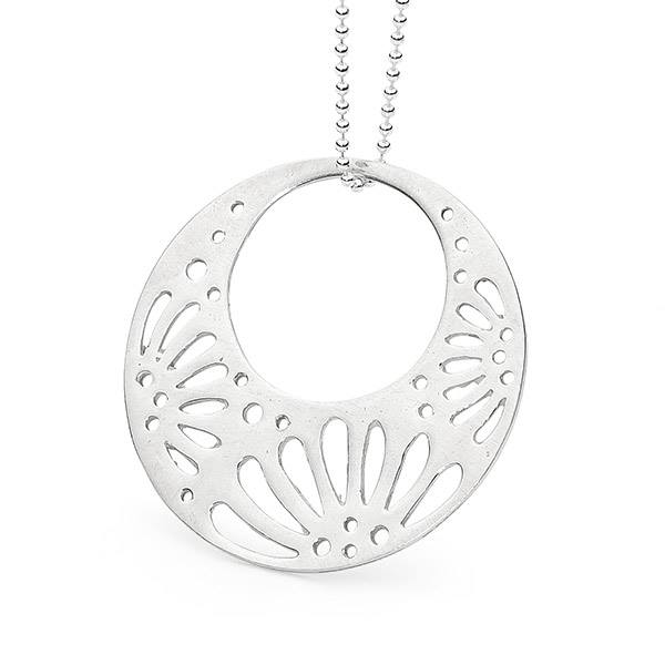 Leoni & Vonk sterling silver circle pendant photographed against a white background