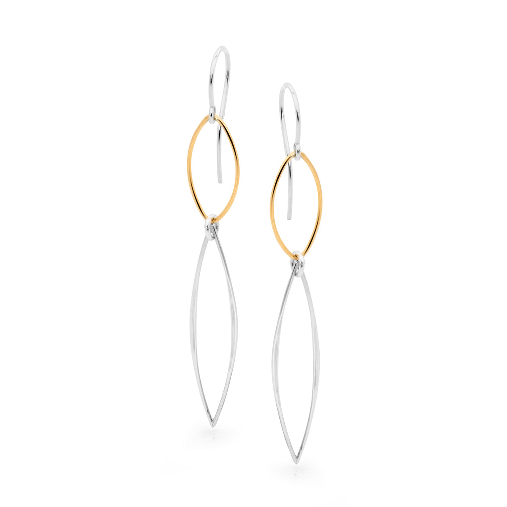 Leoni & Vonk Amy sterling silver and gold fill teardrop earrings photographed against a white background