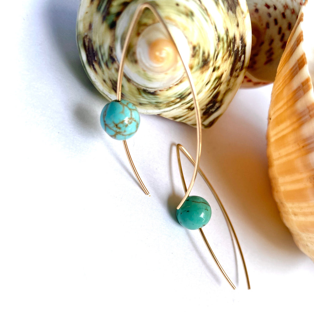 Gold And Turquoise Howlite Ear Wire Earrings