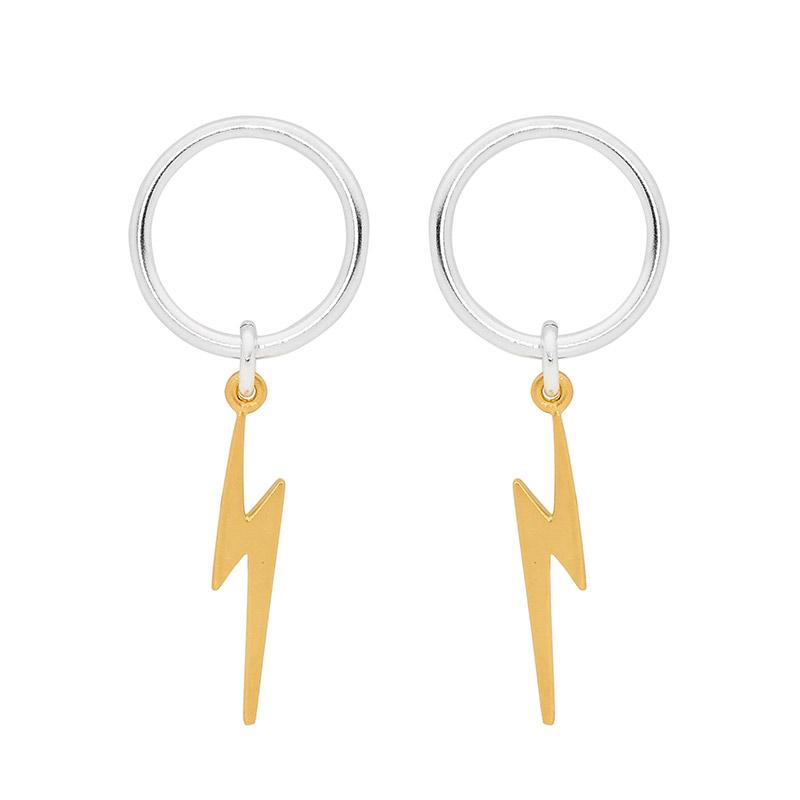Leoni & Vonk lightening bolt earrings photographed on a white background