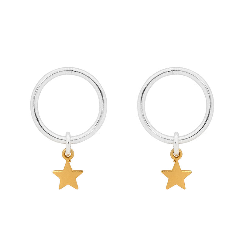Leoni & Vonk gold star earrings photographed on a white background