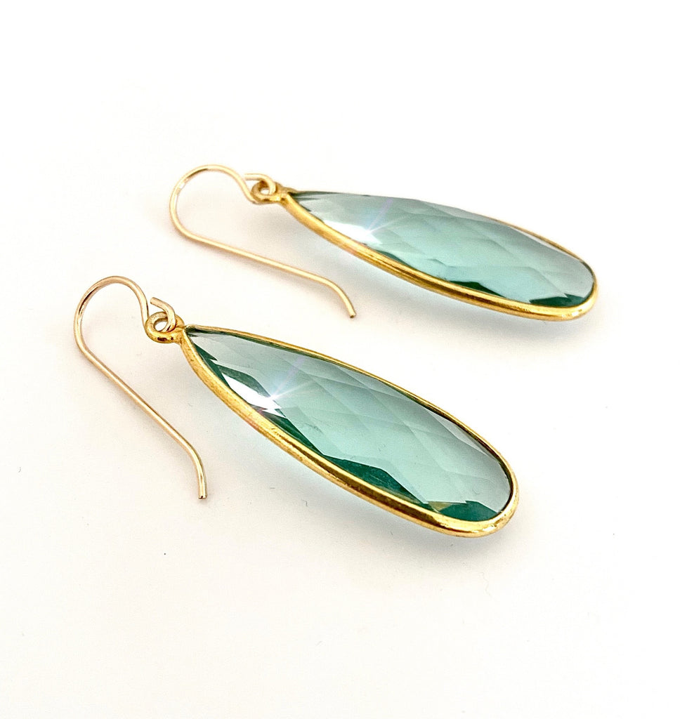 March Aquamarine Gold Earrings