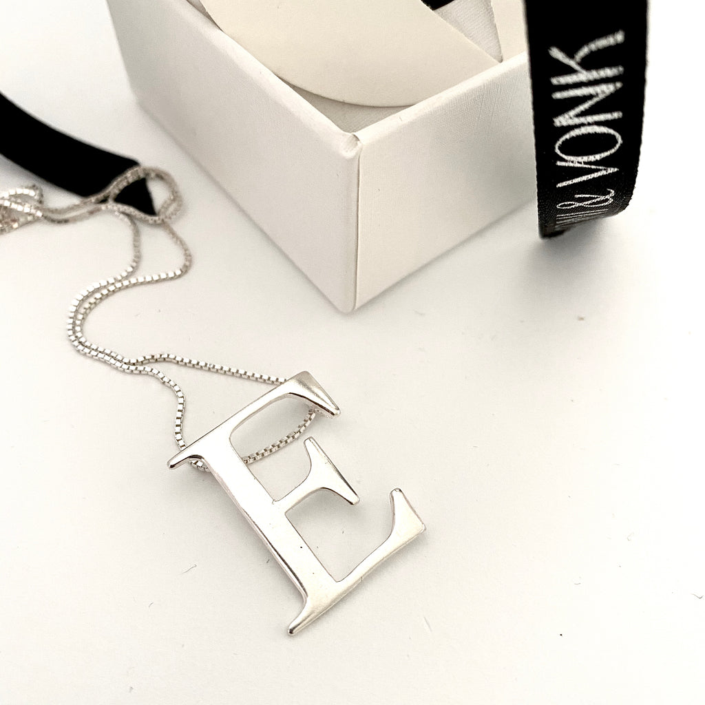 Sterling Silver Large Letter E Necklace