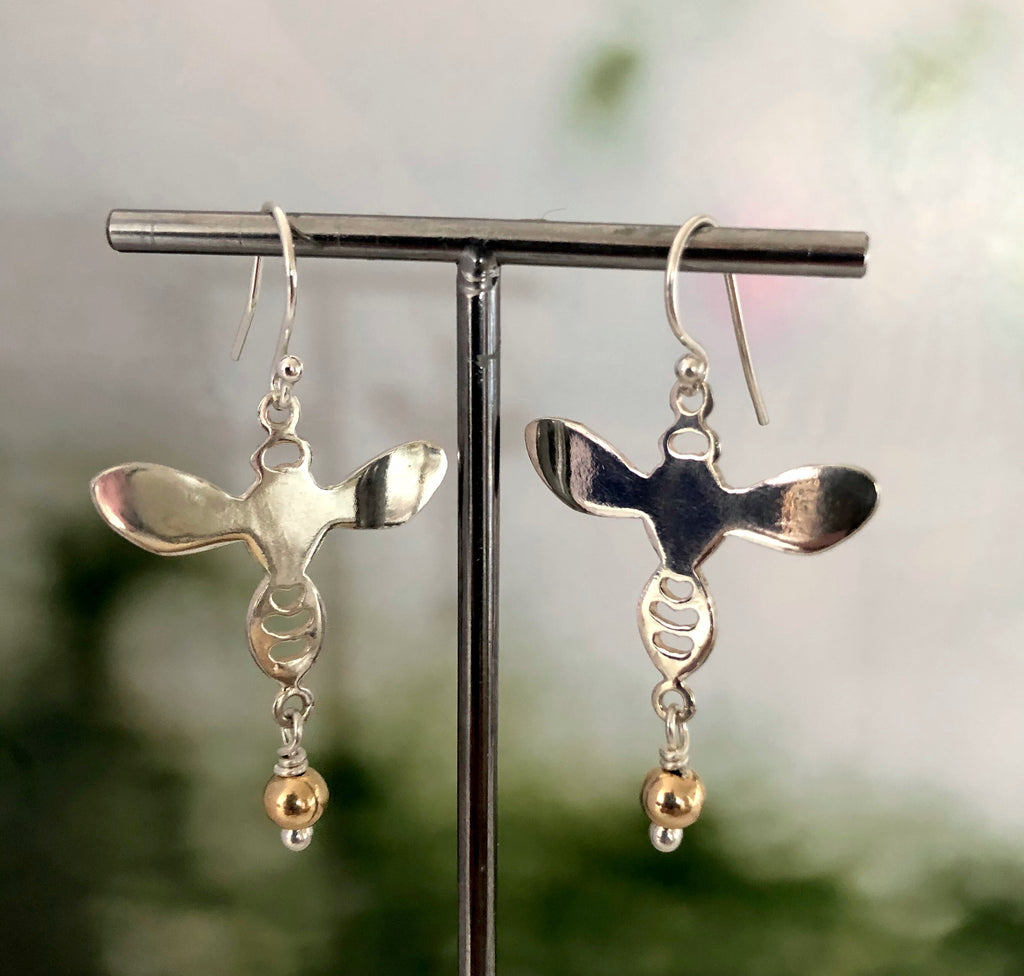 Sterling Silver And Gold Bee Earrings