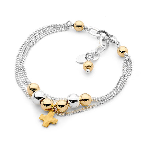 Leoni & Vonk gold cross layered sterling silver chain bracelet