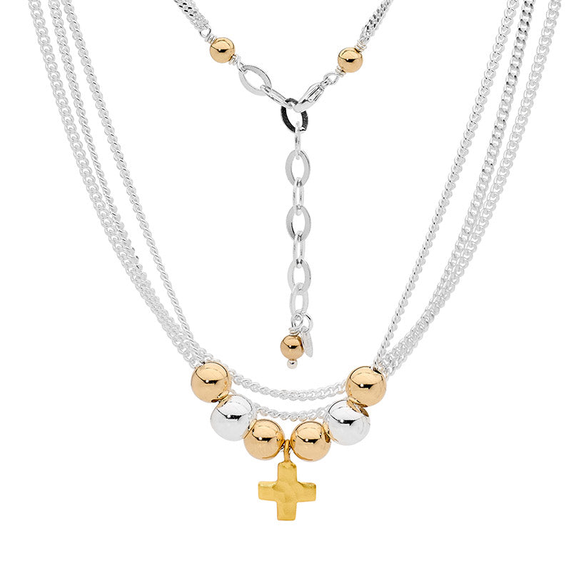 Leoni & Vonk cross necklace with layered sterling silver chain