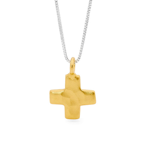 Leoni & Vonk gold cross on sterling silver box chain