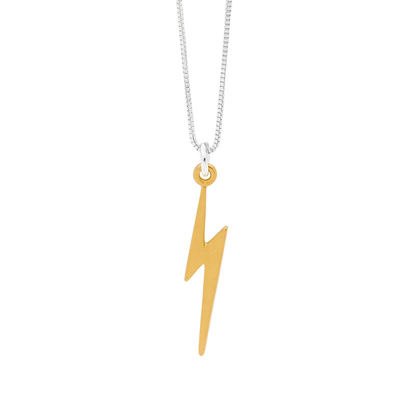 Leoni & Vonk gold plated lightening bolt charm necklace