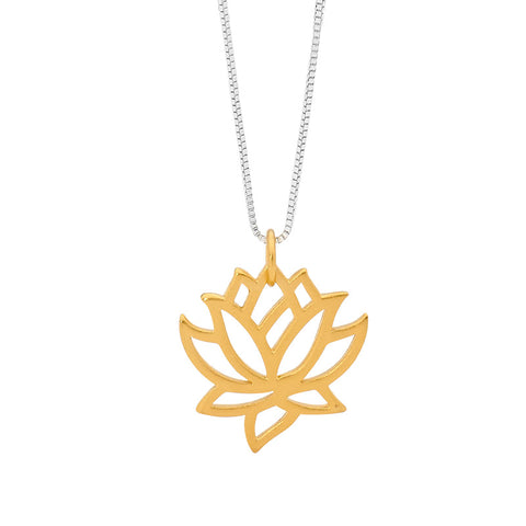 Leoni & Vonk gold lotus flower charm on a sterling silver box chain.