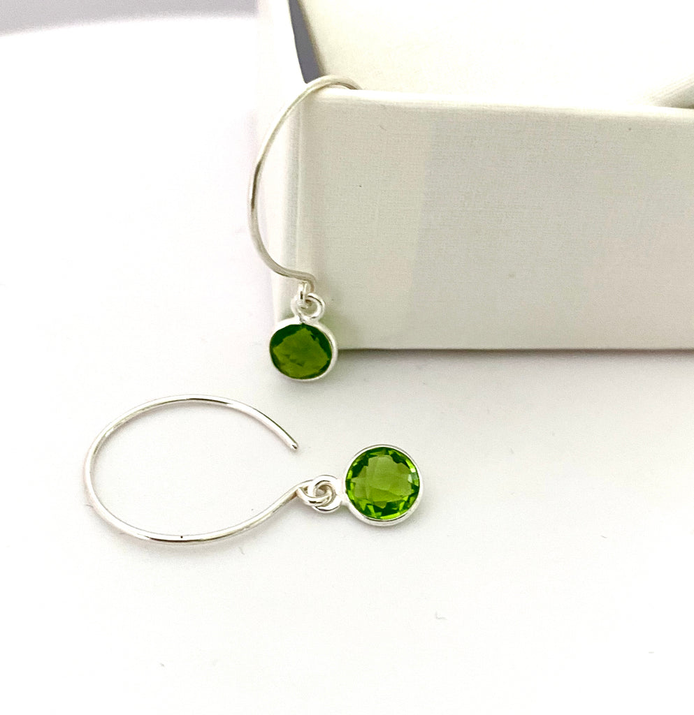 August Peridot Dot Silver Hoop Earrings