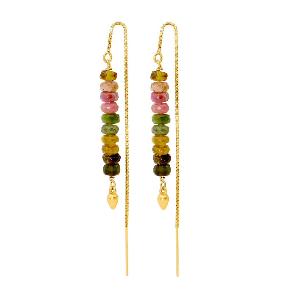 Leoni & Vonk Dora tourmaline and gold ear thread earrings on a white background