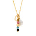 Leoni & Vonk Dora tourmaline, keshi pearl and heart charm necklace on a white background