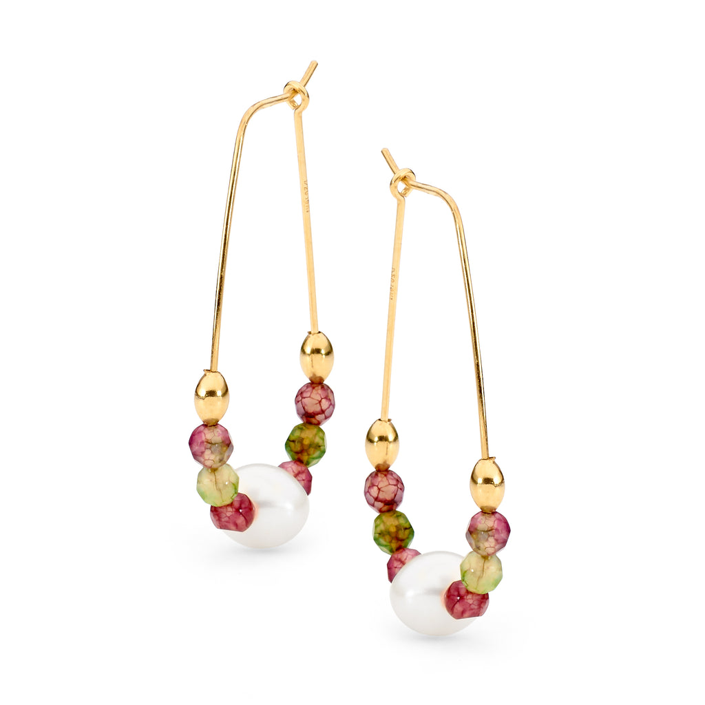 Leoni & Vonk tourmaline and pearl gold hoop earrings photographed against a white background