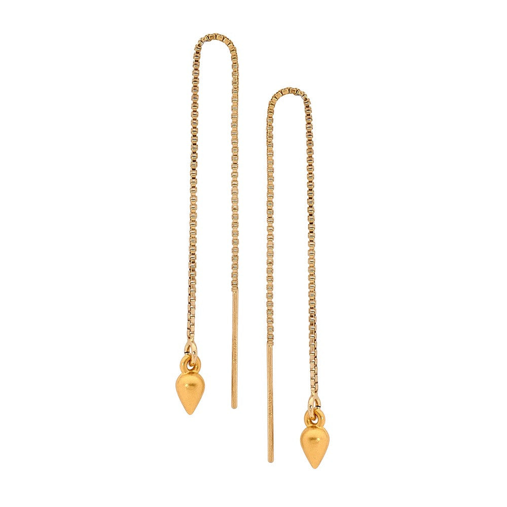 Leoni & Vonk gold drop chain ear thread earrings