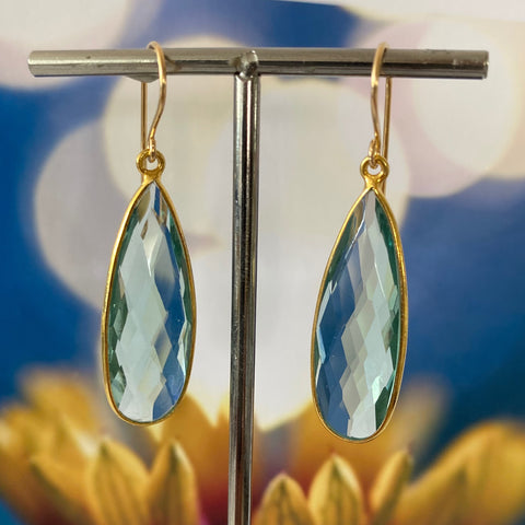 Isla Aqua Quartz Gold Earrings