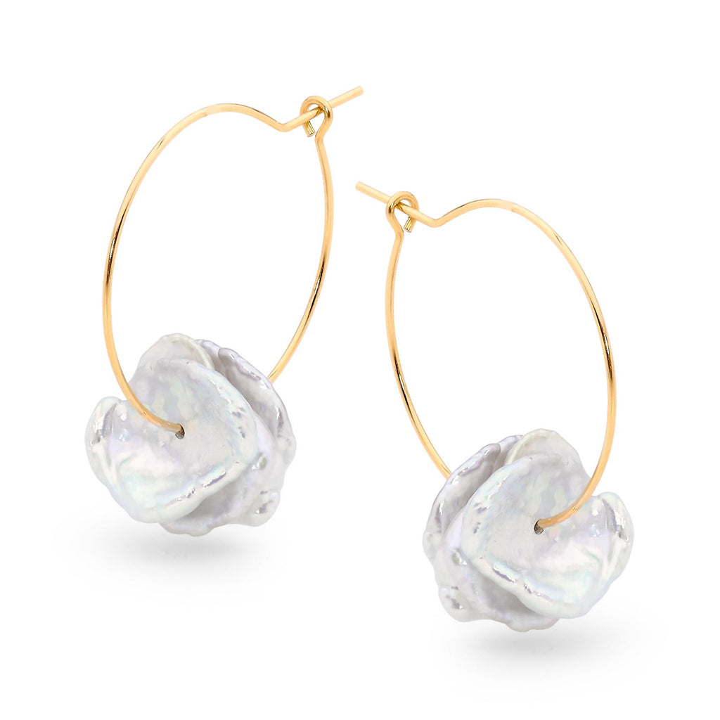 Leoni & Vonk gold hoop and keshi pearl earrings