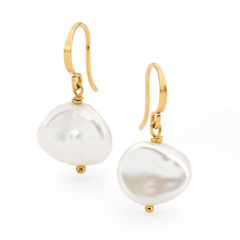 Leoni & Vonk white keshi pearl earrings photographed against a white background
