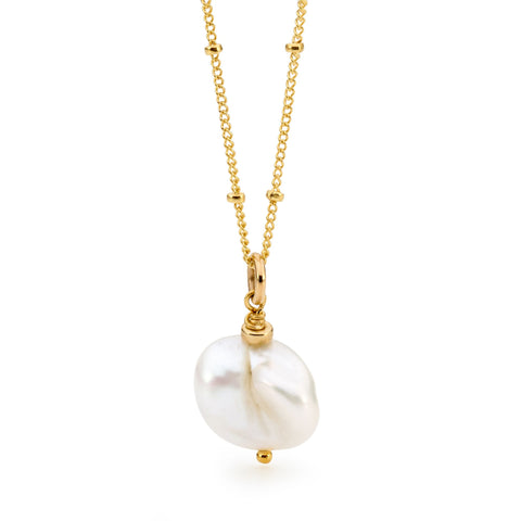 Leoni & Vonk white keshi pearl necklace photographed against a white background