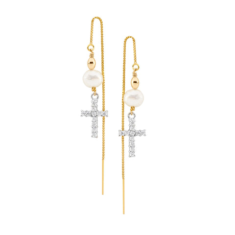 Leoni & Vonk cubic zirconia cross and pearl gold ear thread earrings photographed against a white background