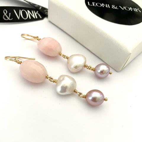 Leoni & Vonk pink peruvian opal and pearl earrings