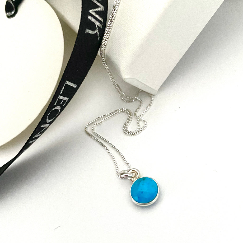 December Turquoise Silver Dot Necklace