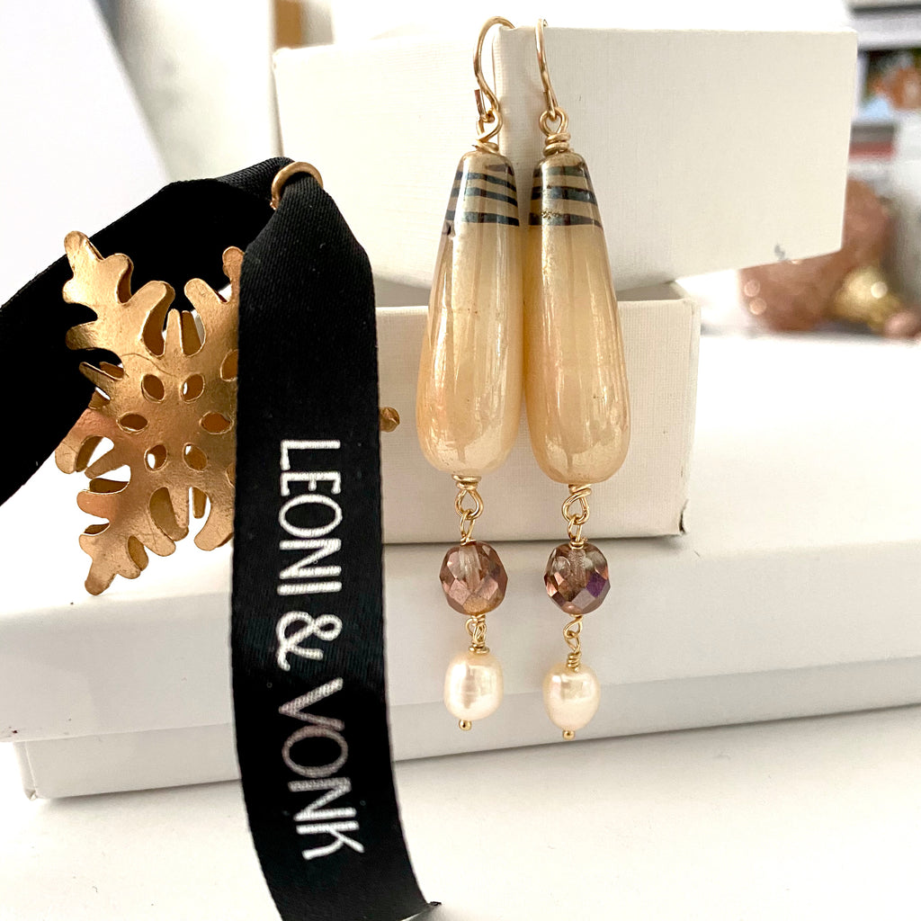 Vintage Bead, Crystal And Pearl Drop Earrings