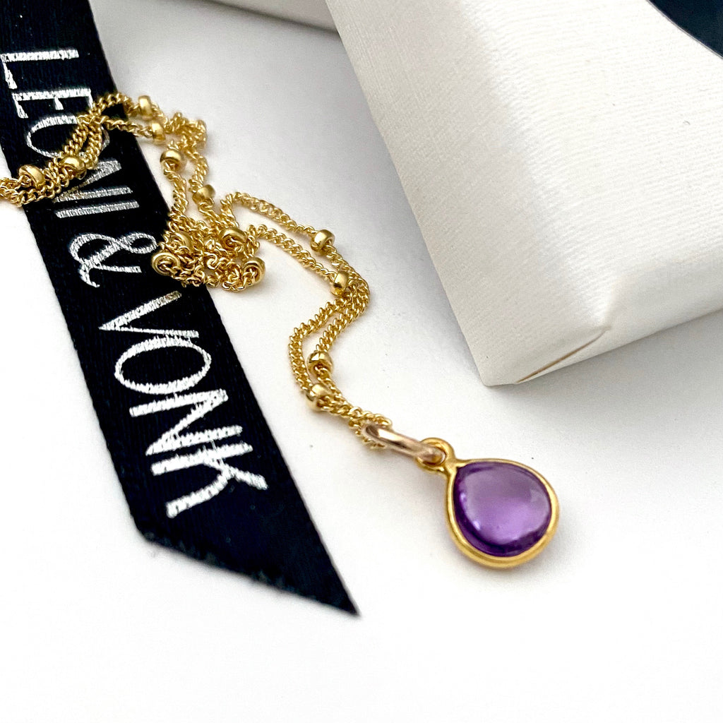 February Amethyst Gold Drop Necklace