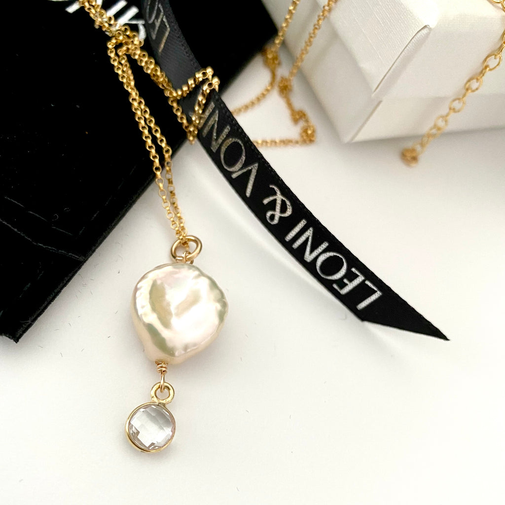 April Keshi Pearl And Crystal Drop Gold Necklace