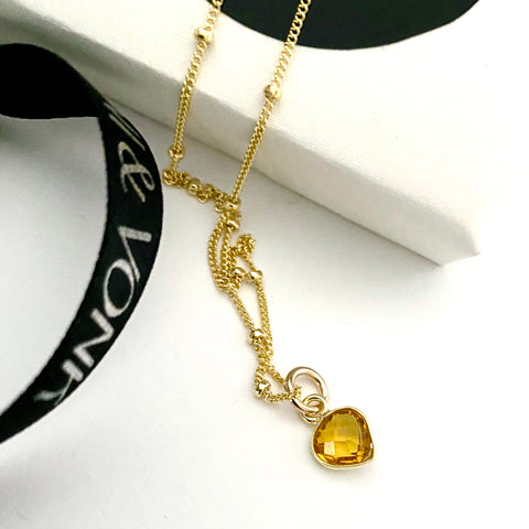 November Citrine Heart Gold Necklace
