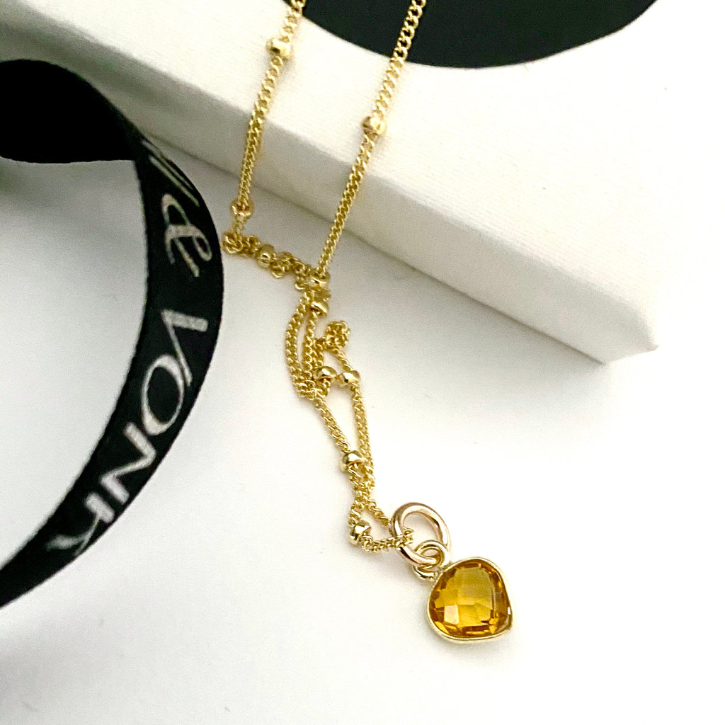 Citrine Heart Gold Necklace
