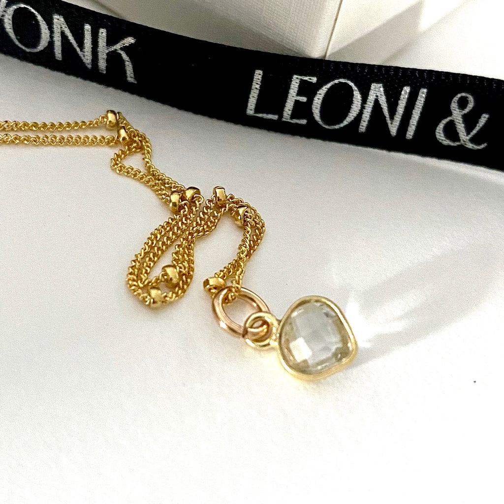 April Crystal Heart Gold Necklace