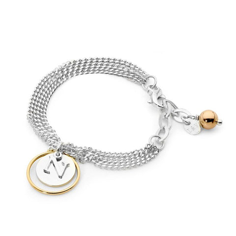 Leoni & Vonk yellow gold eclipse initial bracelet