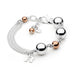 Leoni & Vonk Forever sterling silver ball and rose gold fill bracelet with personalised initial photographed on a white background