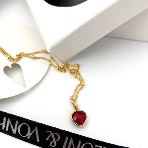 January Garnet Heart Gold Necklace