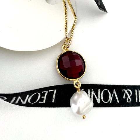 January Garnet Keshi Pearl Gold Drop Necklace