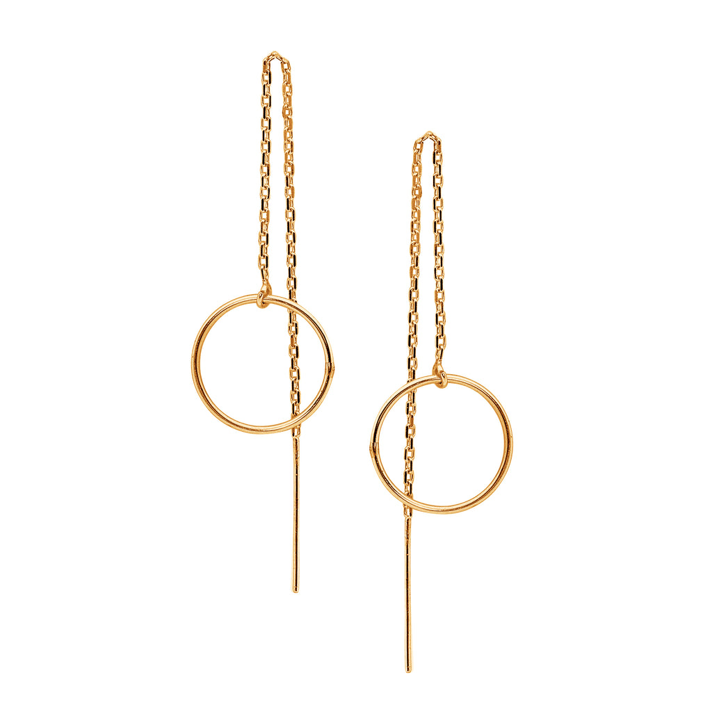 Leoni & Vonk gold fill circle ear thread earrings photographed against a white background