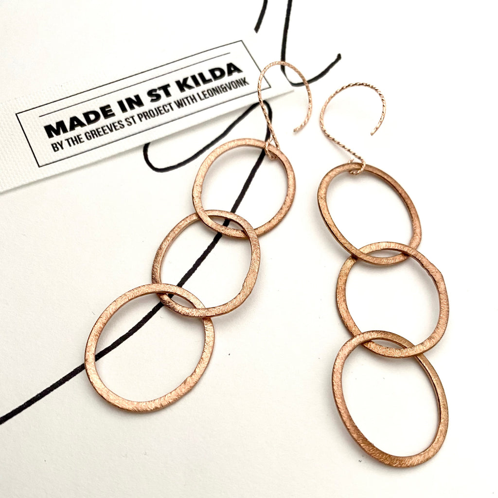 Greeves St Rose Gold Fill Oval Triple Link Earrings