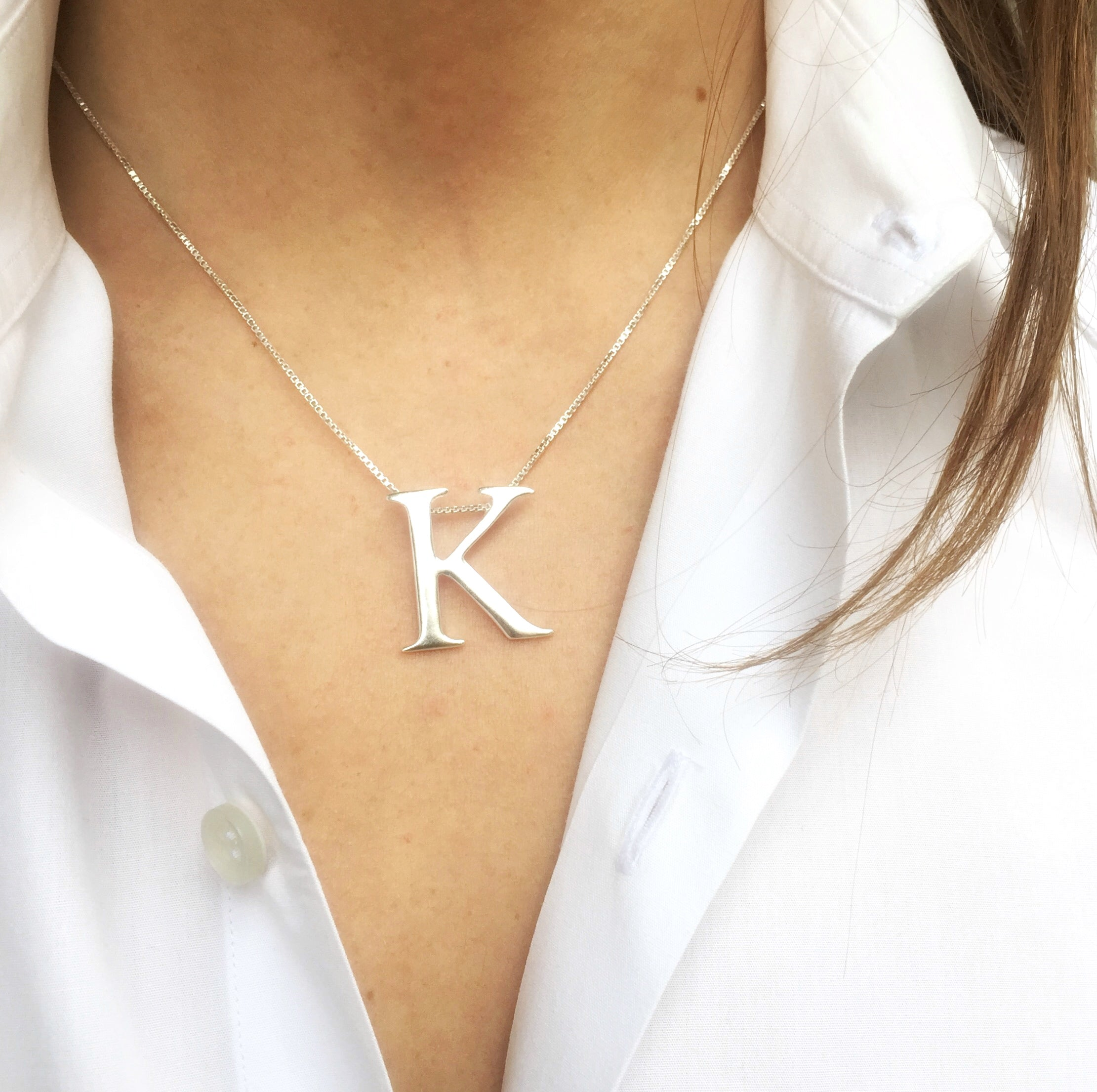 Leoni vonk sterling silver personalised large initial necklace leoni vonk personalised large sterling silver initial on sterling silver box chain aloadofball Images