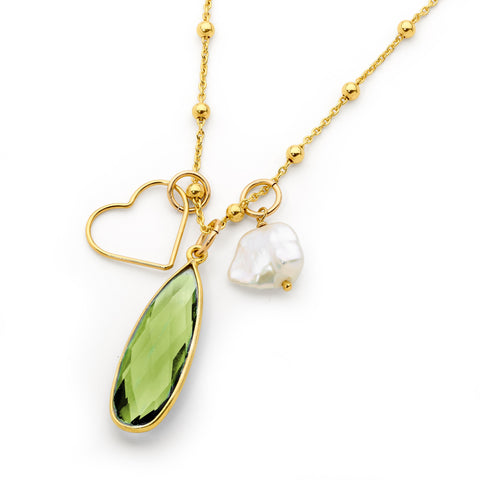 May Green Amethyst, Heart And Pearl Gold Necklace