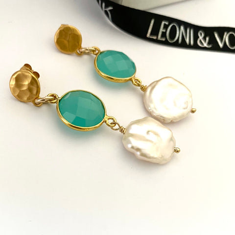 Leoni & Vonk Peruvian chalcedony and keshi pearl drops photographed near Leoni & Vonk ribbon