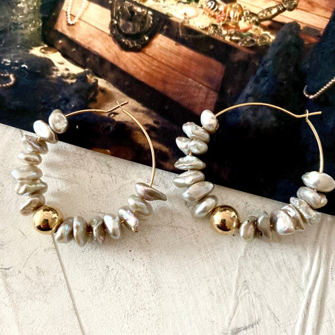 Polly Keshi Pearl Hoop Earrings