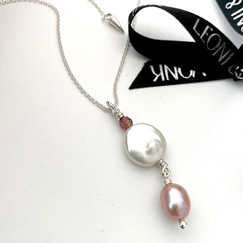 Sterling Silver Double Drop Pearl Necklace