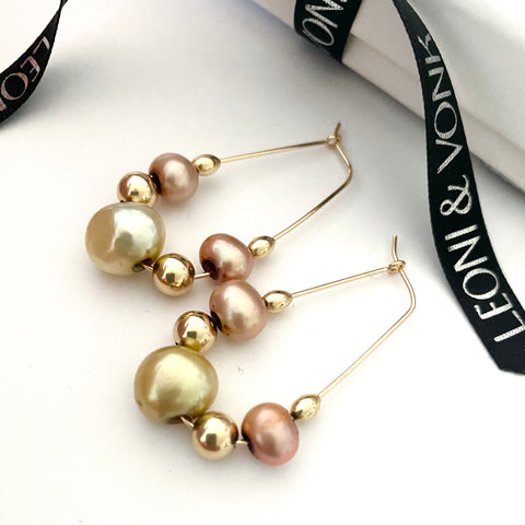 Botanic Pearl Gold Hoop Earrings