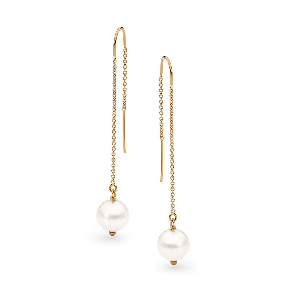 Gold and white pearl chain earring
