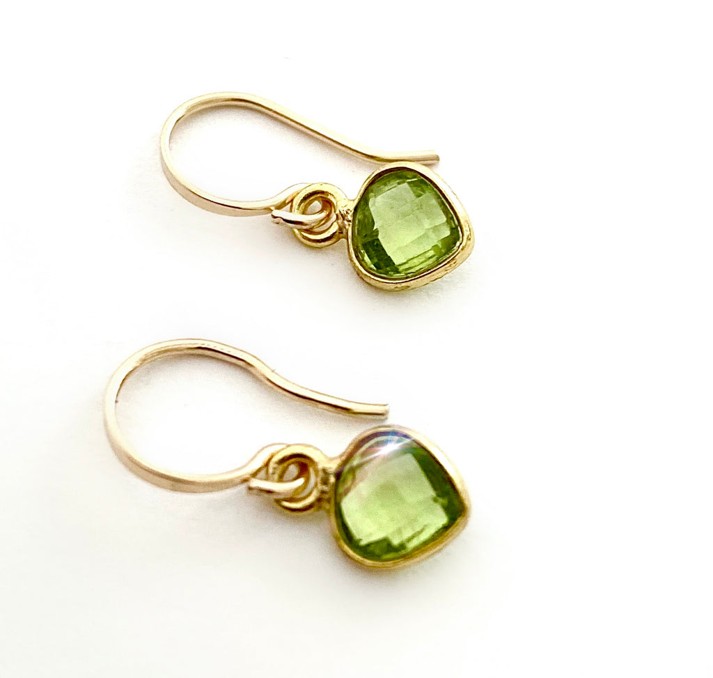 August Peridot Heart Earrings