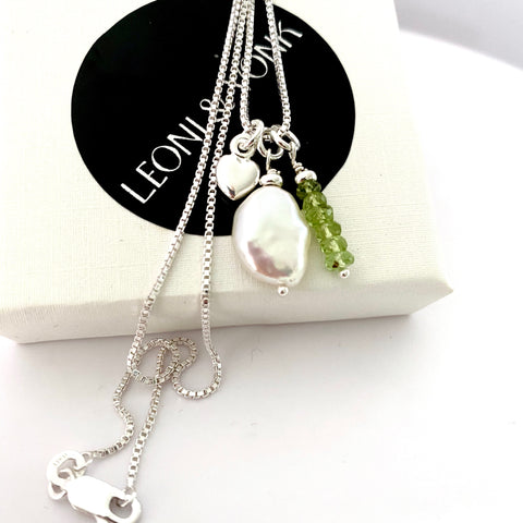 August Peridot Pearl Charm Necklace